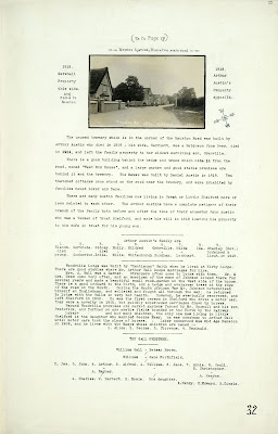 A Record of Shelford Parva by Fanny Wale P32 fo. 33, page 32: A photograph of Hauxton Road, Little Shelford and description of the Austin family and a description of the Gall family and family tree. A description of Woodville Lodge. [fo.29 but within mount B]