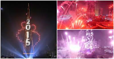 O incrível espectáculo de fogo-de-artifício e luzes no ano novo no Dubai