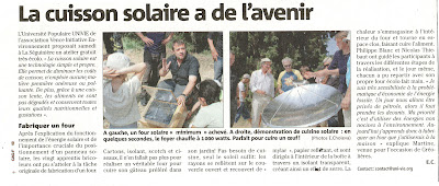 """Article """"Four Solaire"""" dans le Nice Matin du 7 juillet 2012, version """"Cagnes -  Vence - Carros"""", page 10"""