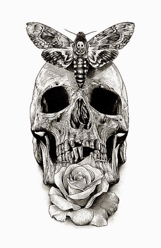 Skull Tattoo design drawing by AaronKingIllustrator on DeviantArt