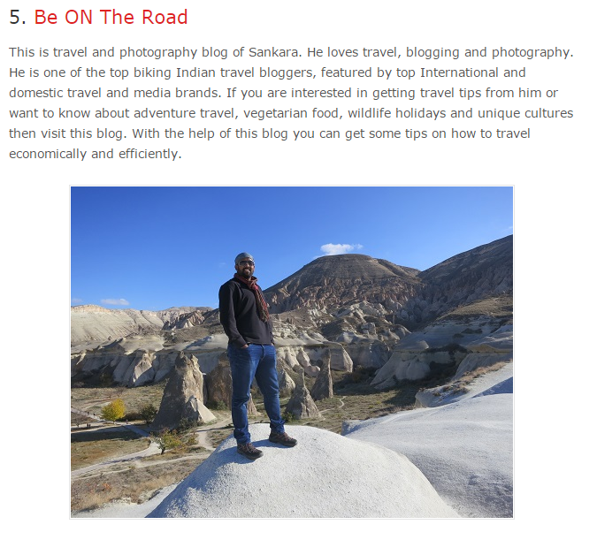 BE ON THE ROAD as one of the top travel blogs in India