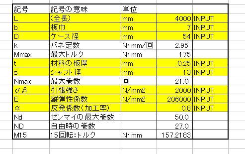 ゼンマイバネの計算シート