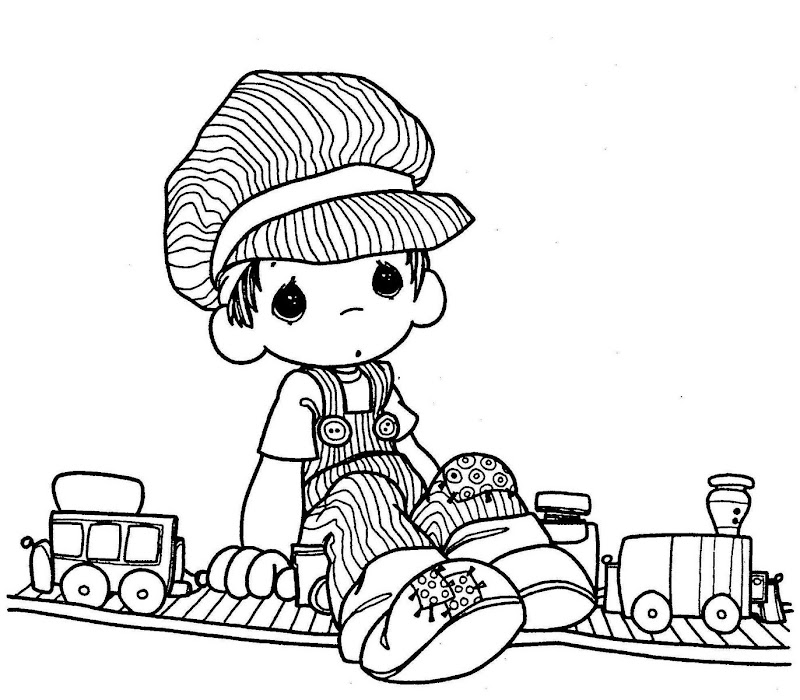 Train driver precious moments coloring pages coloring for Coloring pages of precious moments