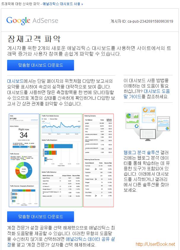 구글 애드센스 트래픽에 대한 신속한 파악 - 애널리틱스 대시보드 사용