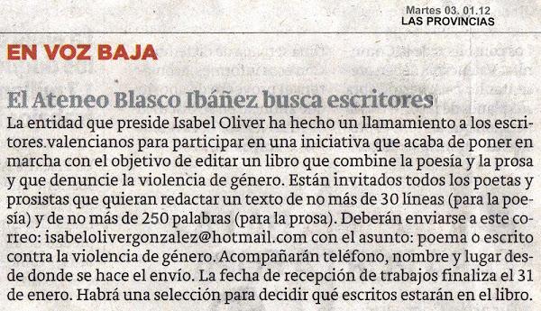 El Ateneo Blasco Ibáñez busca escritores... 2012