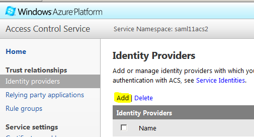 Add or Manage Identity Providers