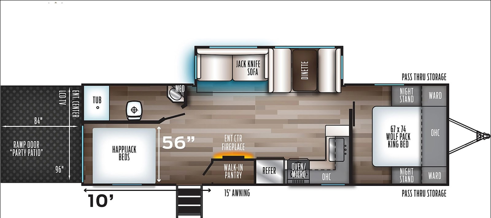 Floor plan for the family-friendly The Forest River Cherokee Wolf Pack 27Pack10 Toy Hauler.