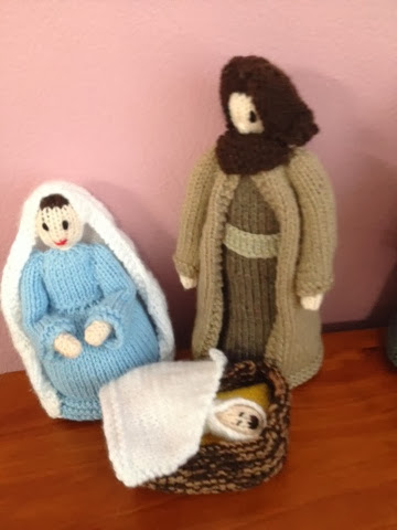 Knitted baby Jesus, Mary and Joseph