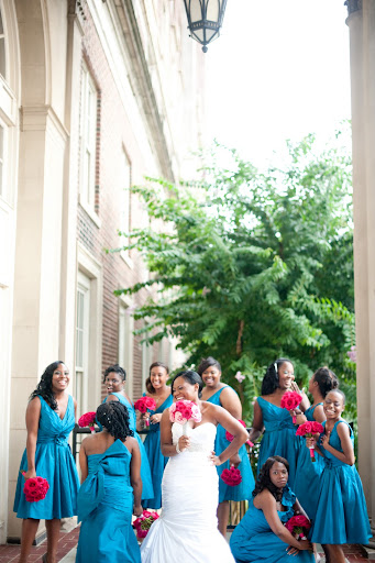 teal and magenta wedding