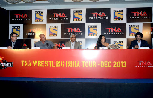 (L-R) - Andy Barton, Vice President, TNA Wrestling _ Kurt Angle_ Man Jit Singh, CEO, MSM India_ Gail Kim and N P Singh.JPG
