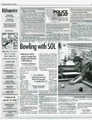 Barometer print layout Police Beat next to Bowling for Sol LGBT Oct. 4, 2013