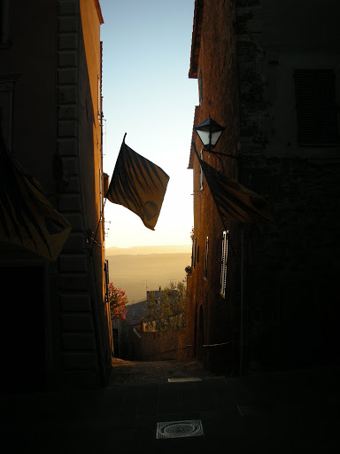 Montalcino and Val d'Orcia. View and flags during the sagra del tordo.