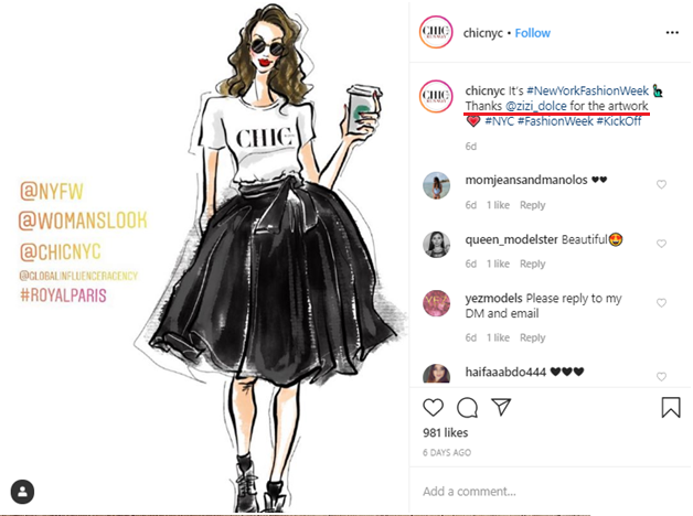 Social media post idea – ChicNYC uses a follower's artwork for commercial purpose
