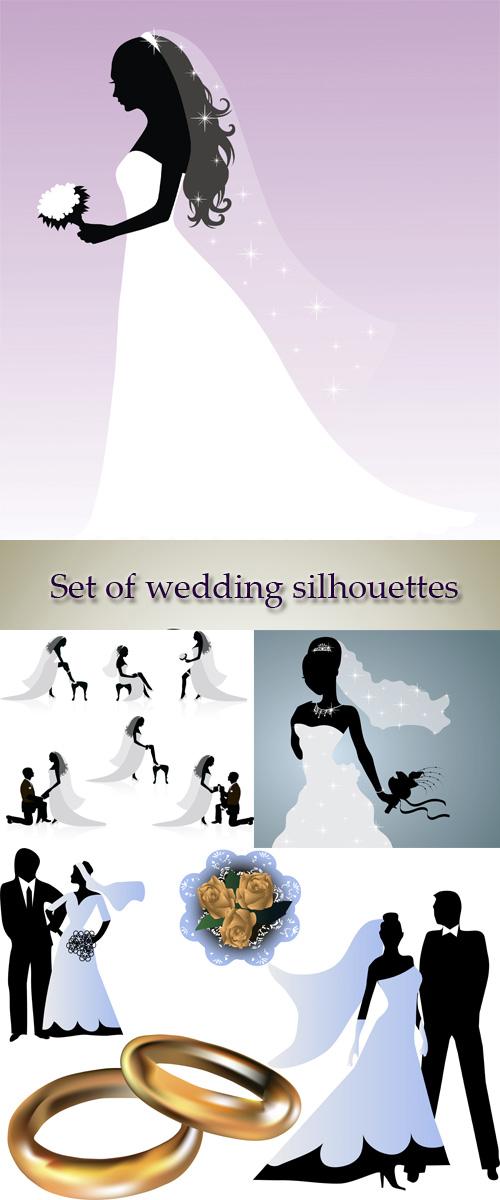 Stock: Set of wedding silhouettes