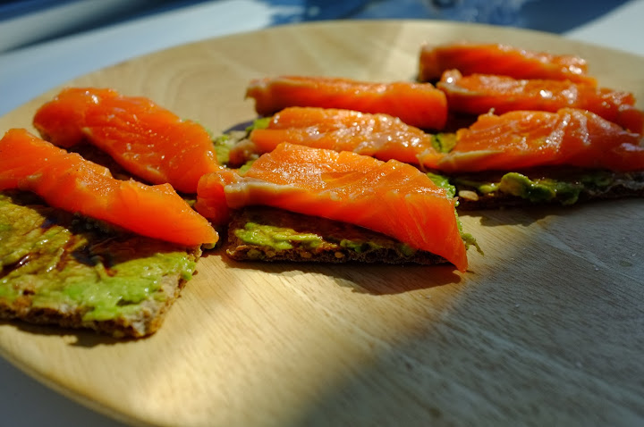 salmon avocado cracker