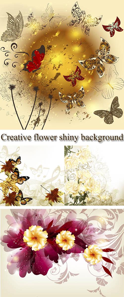 Stock: Creative flower shiny background