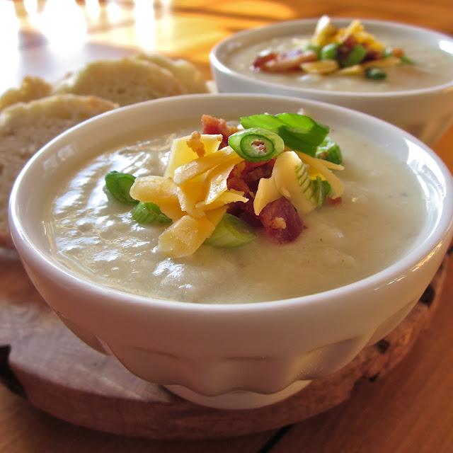 soup roasted cauliflower leek garlic soup and lemon fritters