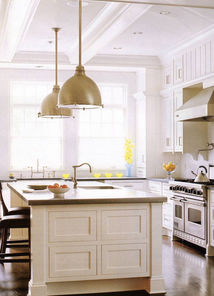 Kitchen cabinets island shelves cabinetry white walnut for Kitchen island lighting pendants