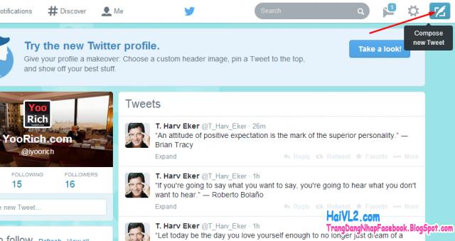 hướng dẫn twitte tin tức, link, hình ảnh