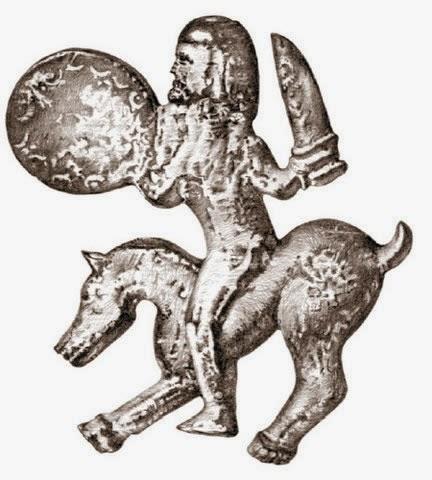 Конный воин в аварском шлеме с мечом и щитом.jpg