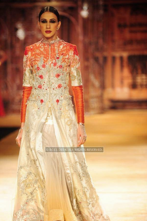 A model walks the ramp for Sulakshana on Day 6 of India Couture Week, 2014, held at Taj Palace hotel, New Delhi.