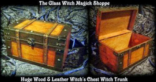 Huge Wood And Leather Witchs Chest Witch Trunk 35 00