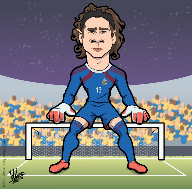 Cartoon of Guillermo Ochoa.