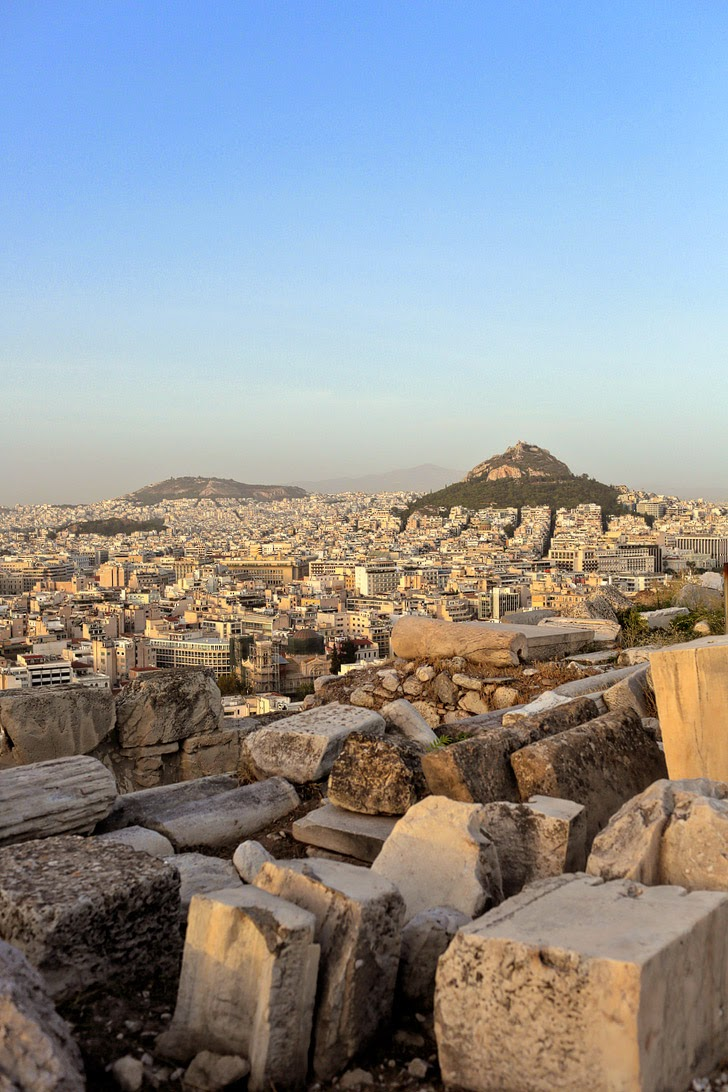 View of Mount Lycabettus from Athens Acropolis.