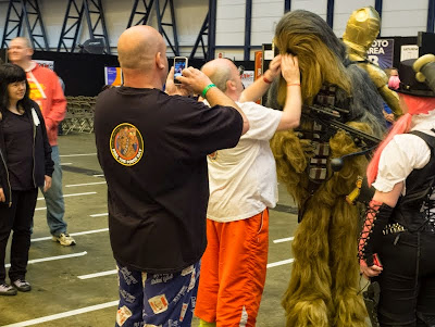 Chewbacca cosplayers at London Film and Comic Con