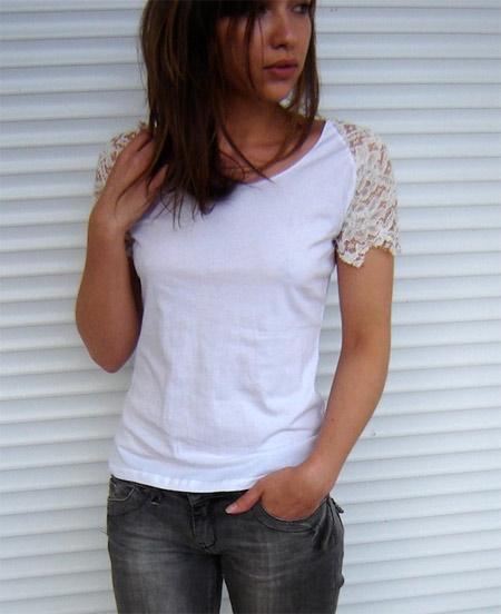 customização de camiseta branca com renda