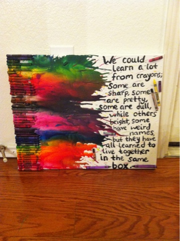 Mrs carroll 39 s crayons crayon art for my classroom for Melted crayon art with quotes