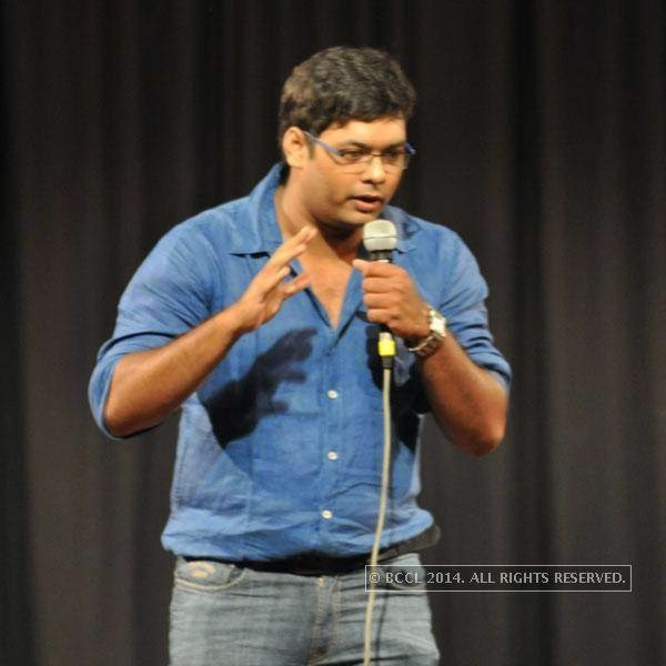 Sourav Ghosh at Kolkata's Funniest Day, a stand-up comedy event.