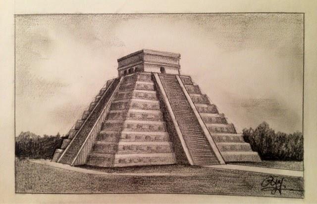 Chichen Itza Mexico Drawing Center of The Chichen Itza