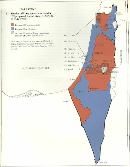 1948 Map of Conflicts in Palestine.