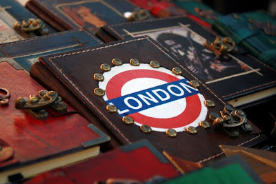 Leather journals at a Notting Hill market in London England