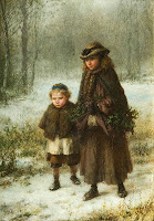 Two young girls walking through snowy forest grounds