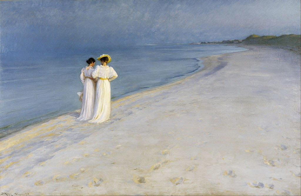 Peder Severin Krøyer - Summer evening on Skagen's Beach. Anna Ancher and Marie Krøyer walking together. - Google Art Project