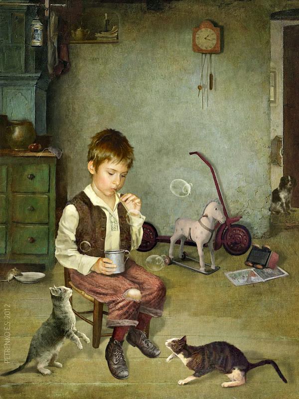 коллаж, кошки-мышки