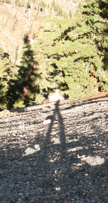 long shadow down the slope