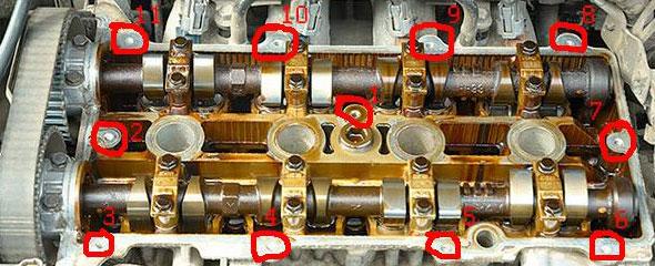 Порядок откручивания болтов крепления крышки клапанов автомобиля Мазда