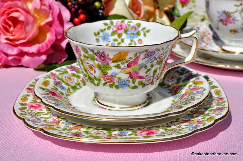 Royal Crown Derby A454 Vintage Floral Teacup Trio
