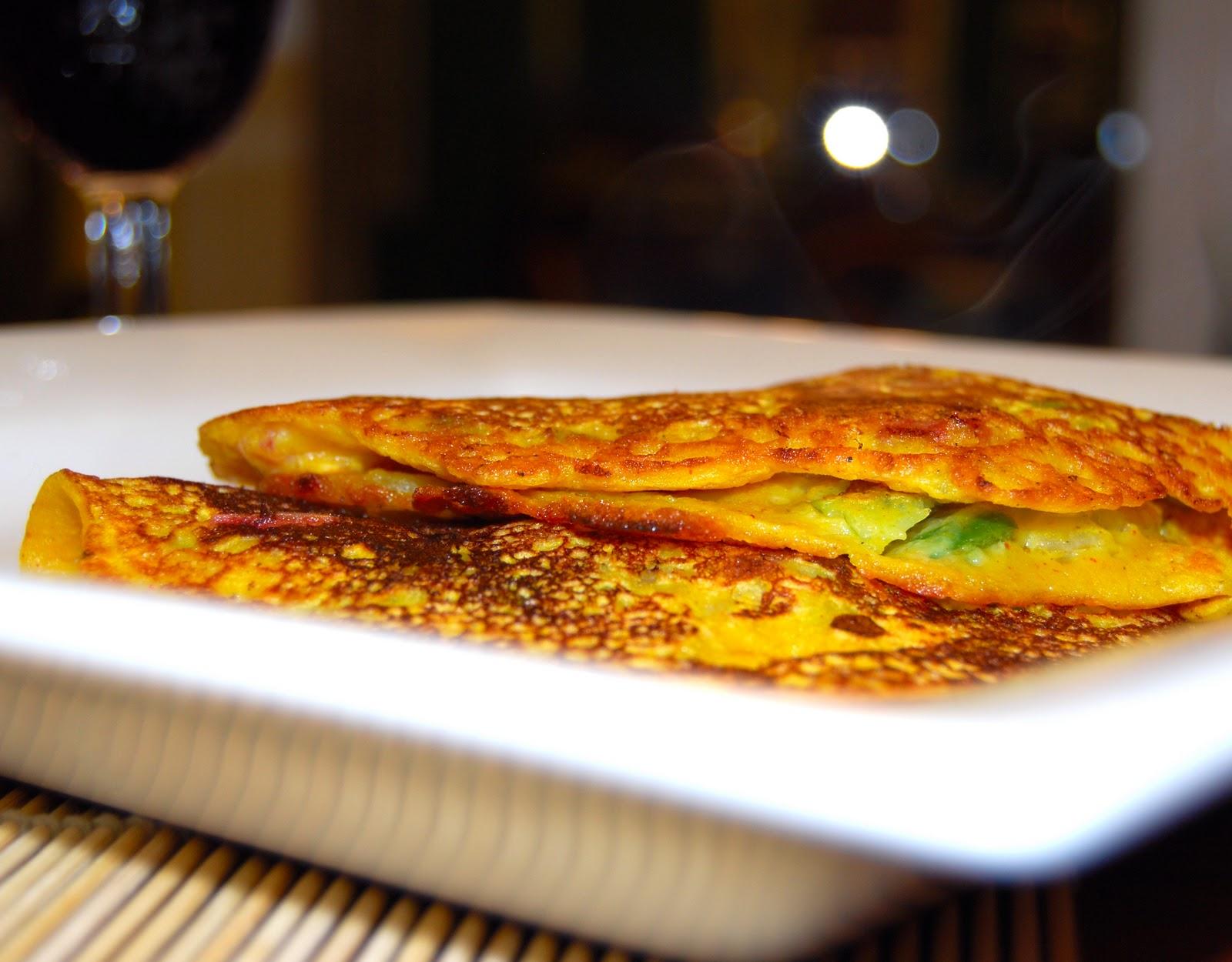 Eggless Vegetable Omelet Recipe | Besan Cheela - Holy Cow!