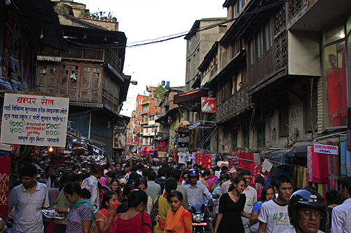 Crowded streets in thamel