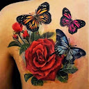 Butterfly and Rose Tattoo Ideas 3