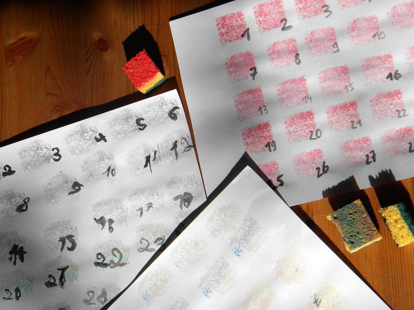 daisyd es que faire avec une ponge un calendrier. Black Bedroom Furniture Sets. Home Design Ideas
