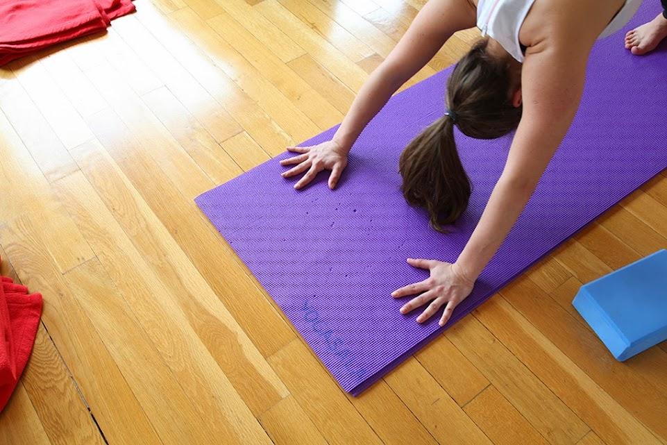 downward dog at yoga class