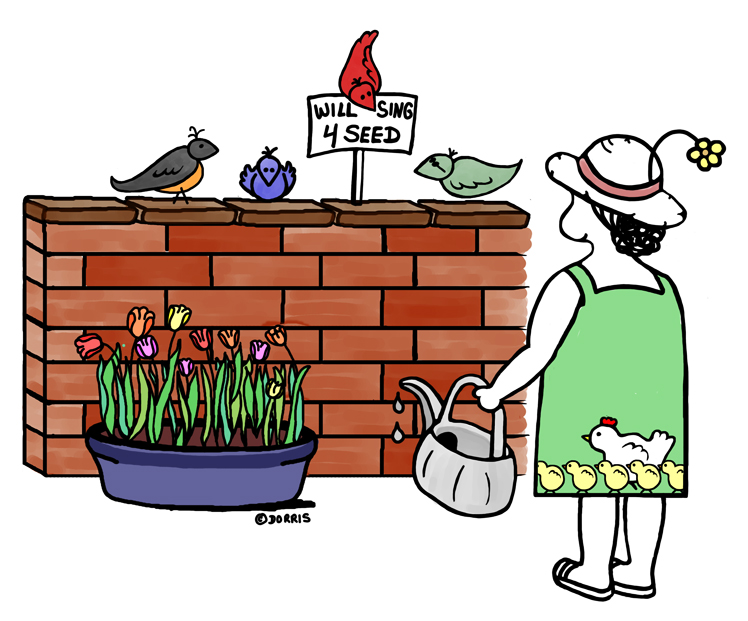Dorris - Birds will sing for food.
