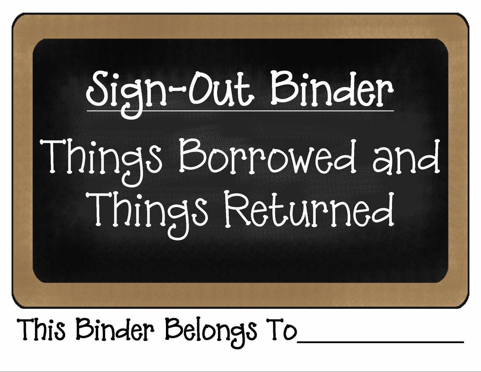 things borrowed and things returned binder