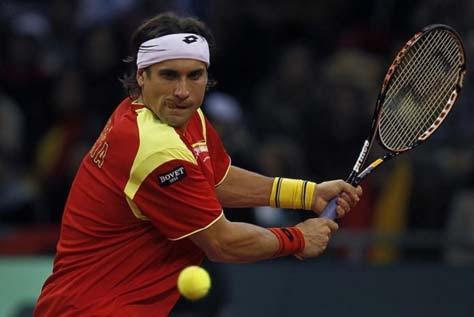 David Ferrer jugando Copa Davis