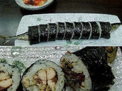 サンマ1匹巻いたらはみ出ちゃいました寿司